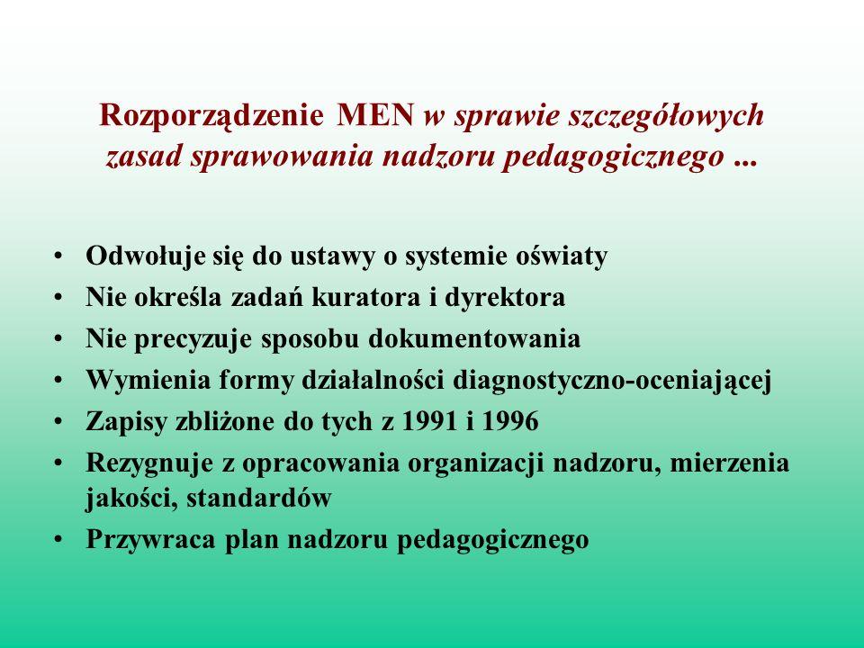 Rozporządzenie MEN w sprawie szczegółowych zasad sprawowania nadzoru pedagogicznego... Odwołuje się do ustawy o systemie oświaty Nie określa zadań kur