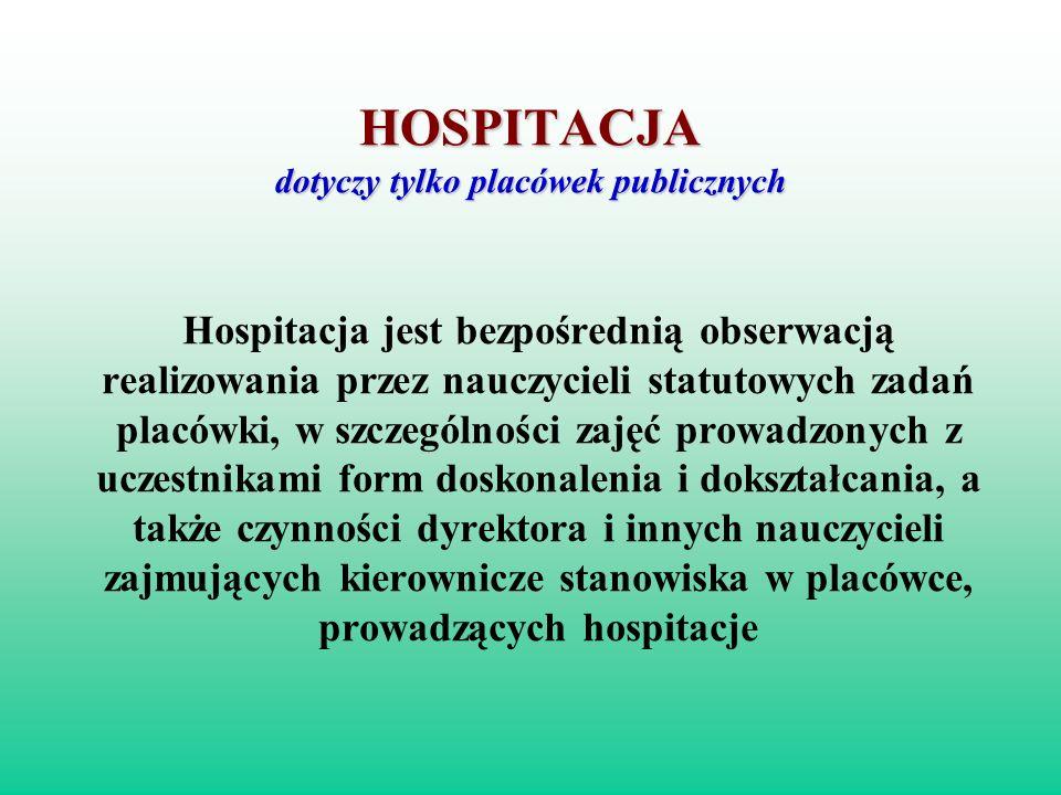 HOSPITACJA dotyczy tylko placówek publicznych Hospitacja jest bezpośrednią obserwacją realizowania przez nauczycieli statutowych zadań placówki, w szc