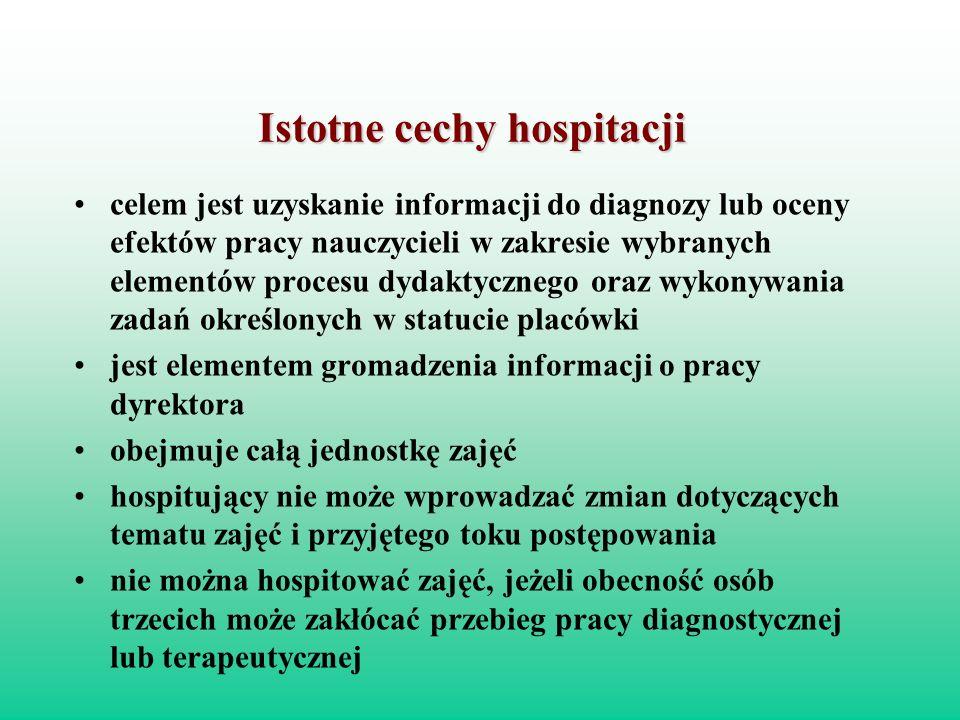 Istotne cechy hospitacji celem jest uzyskanie informacji do diagnozy lub oceny efektów pracy nauczycieli w zakresie wybranych elementów procesu dydakt