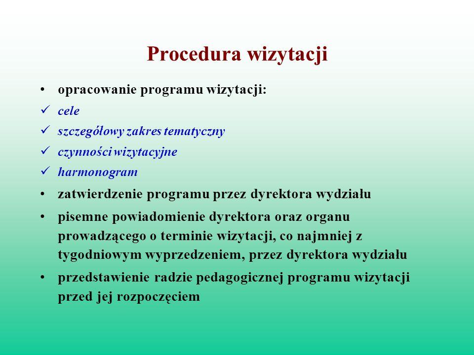 Procedura wizytacji opracowanie programu wizytacji: cele szczegółowy zakres tematyczny czynności wizytacyjne harmonogram zatwierdzenie programu przez