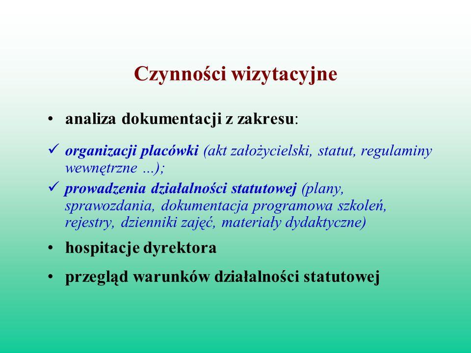 Czynności wizytacyjne analiza dokumentacji z zakresu: organizacji placówki (akt założycielski, statut, regulaminy wewnętrzne...); prowadzenia działaln