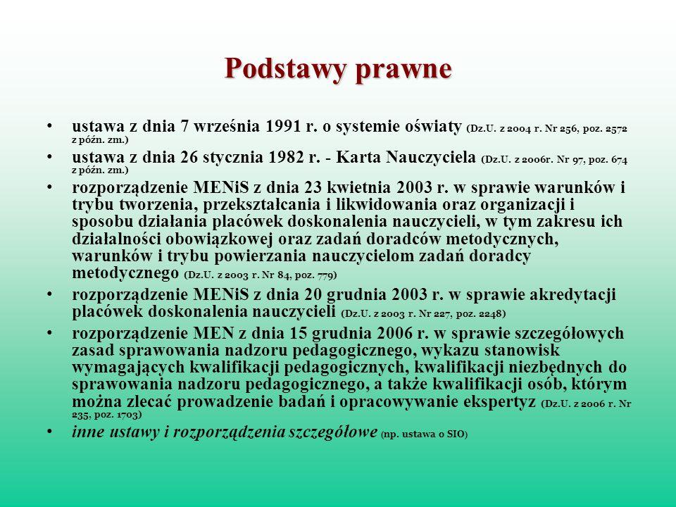 Podstawy prawne ustawa z dnia 7 września 1991 r. o systemie oświaty (Dz.U. z 2004 r. Nr 256, poz. 2572 z późn. zm.) ustawa z dnia 26 stycznia 1982 r.