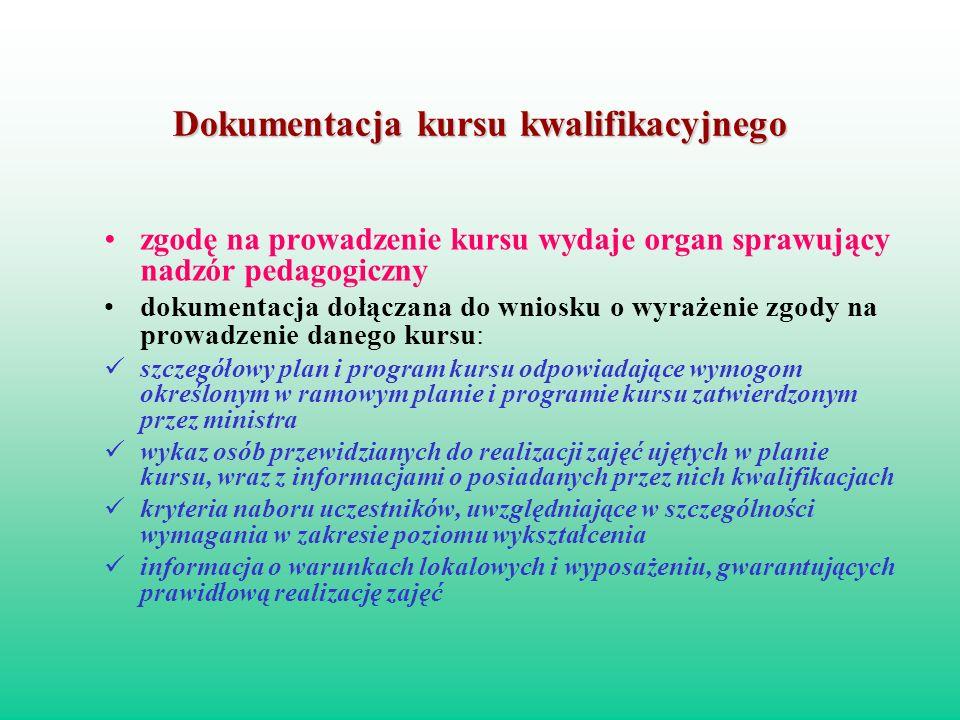 Dokumentacja kursu kwalifikacyjnego zgodę na prowadzenie kursu wydaje organ sprawujący nadzór pedagogiczny dokumentacja dołączana do wniosku o wyrażen
