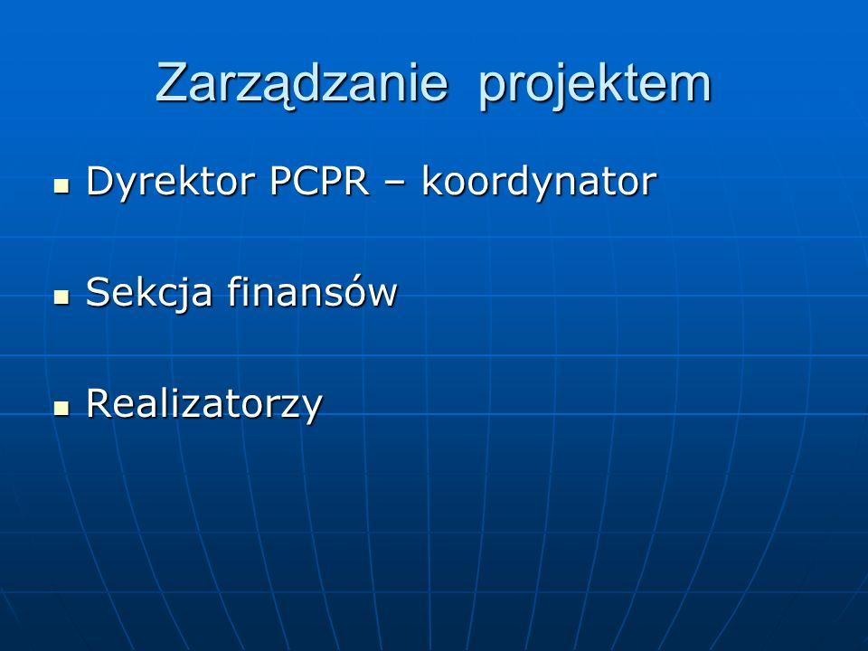 Zarządzanie projektem Dyrektor PCPR – koordynator Dyrektor PCPR – koordynator Sekcja finansów Sekcja finansów Realizatorzy Realizatorzy
