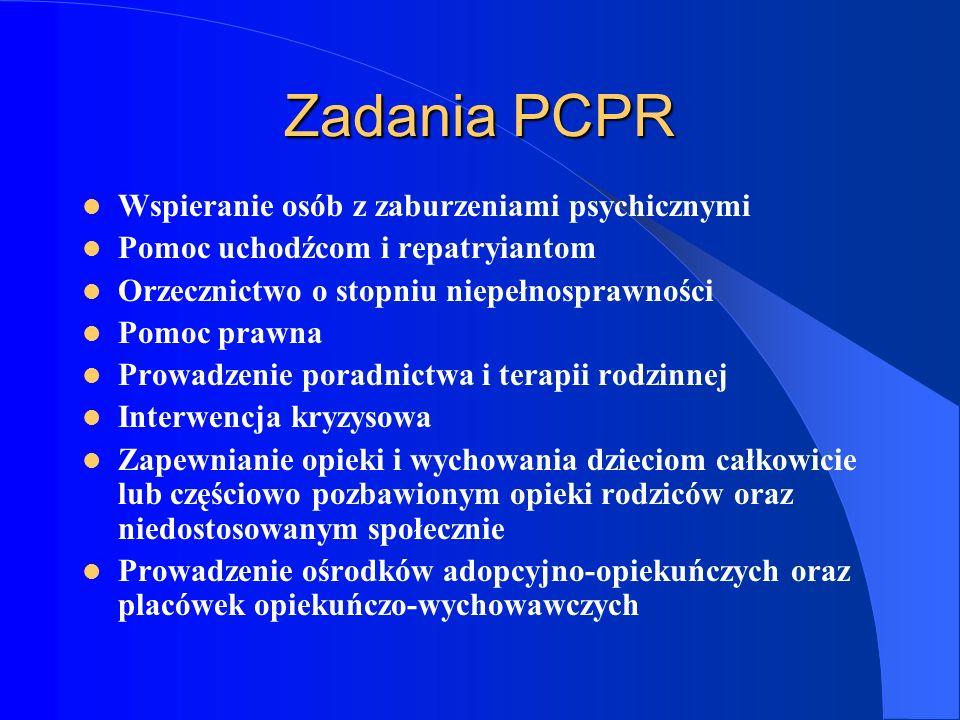 Zadania PCPR Wspieranie osób z zaburzeniami psychicznymi Pomoc uchodźcom i repatryiantom Orzecznictwo o stopniu niepełnosprawności Pomoc prawna Prowad
