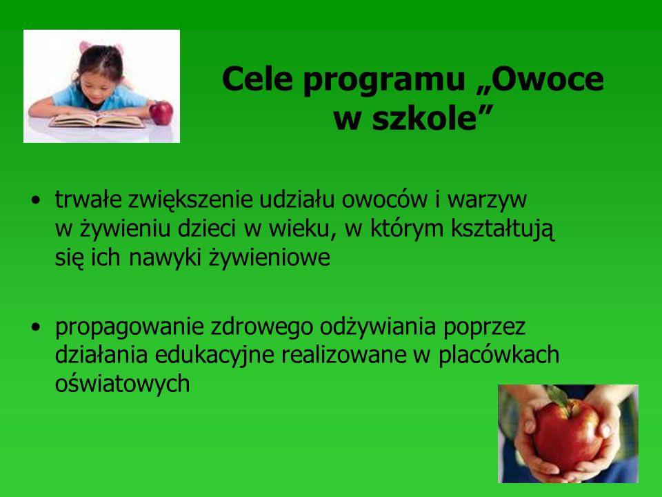 Cele programu Owoce w szkole trwałe zwiększenie udziału owoców i warzyw w żywieniu dzieci w wieku, w którym kształtują się ich nawyki żywieniowe propa