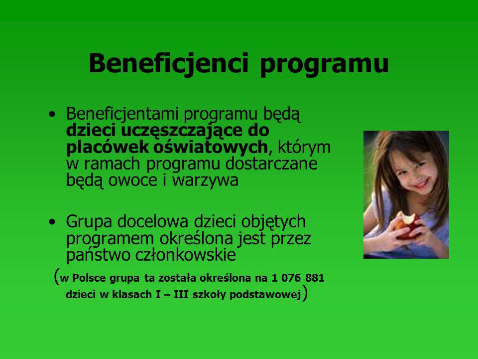 Beneficjenci programu Beneficjentami programu będą dzieci uczęszczające do placówek oświatowych, którym w ramach programu dostarczane będą owoce i war