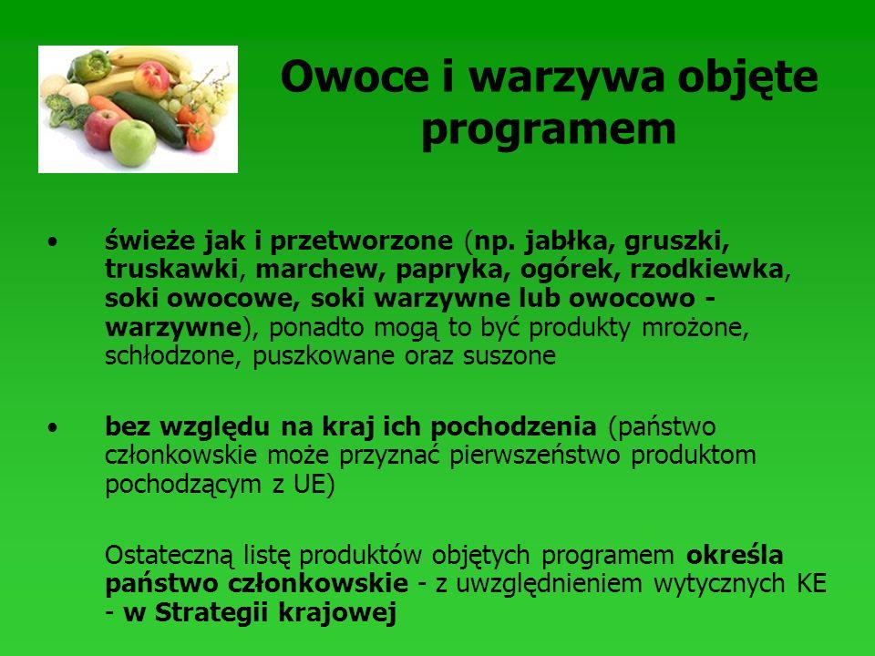 Owoce i warzywa objęte programem świeże jak i przetworzone (np. jabłka, gruszki, truskawki, marchew, papryka, ogórek, rzodkiewka, soki owocowe, soki w
