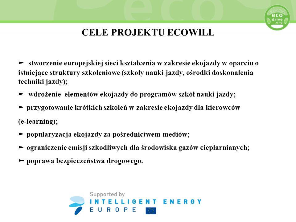 CELE PROJEKTU ECOWILL stworzenie europejskiej sieci kształcenia w zakresie ekojazdy w oparciu o istniejące struktury szkoleniowe (szkoły nauki jazdy,