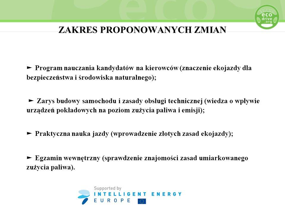ZAKRES PROPONOWANYCH ZMIAN Program nauczania kandydatów na kierowców (znaczenie ekojazdy dla bezpieczeństwa i środowiska naturalnego); Zarys budowy sa