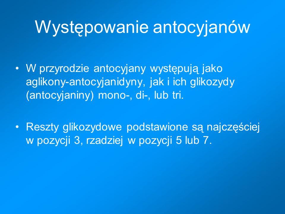 Występowanie antocyjanów W przyrodzie antocyjany występują jako aglikony-antocyjanidyny, jak i ich glikozydy (antocyjaniny) mono-, di-, lub tri.