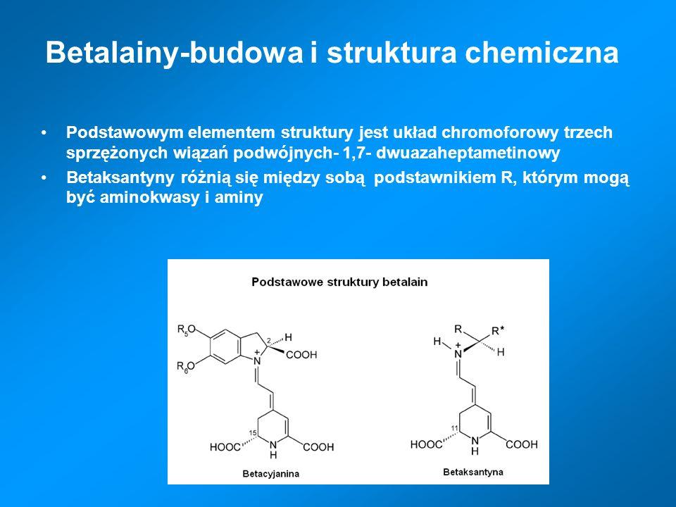 Betalainy-budowa i struktura chemiczna Podstawowym elementem struktury jest układ chromoforowy trzech sprzężonych wiązań podwójnych- 1,7- dwuazaheptam