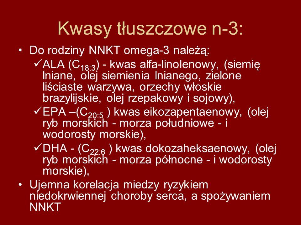Kwasy tłuszczowe n-3: Do rodziny NNKT omega-3 należą: ALA (C 18:3 ) - kwas alfa-linolenowy, (siemię lniane, olej siemienia lnianego, zielone liściaste