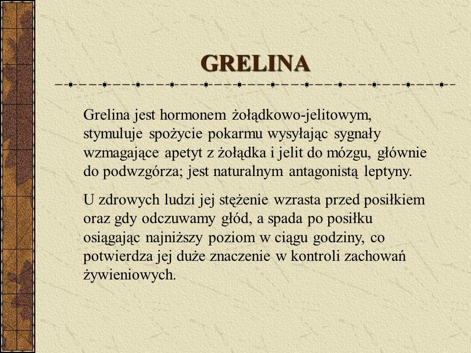 Grelina jest hormonem żołądkowo-jelitowym, stymuluje spożycie pokarmu wysyłając sygnały wzmagające apetyt z żołądka i jelit do mózgu, głównie do podwz