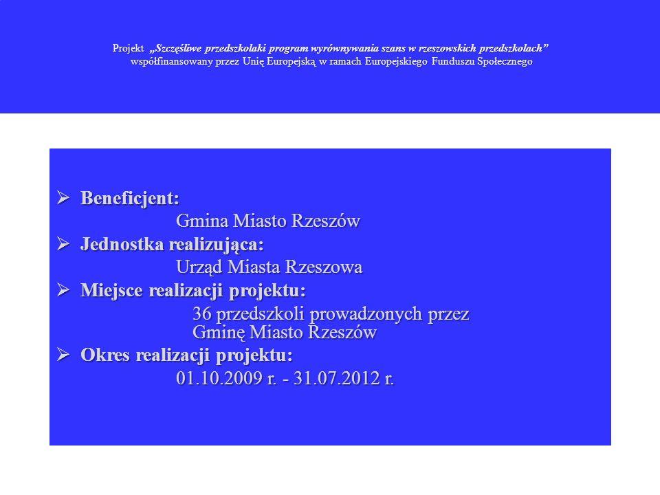Cel główny projektu to: wyrównywanie do końca lipca 2012 roku szans edukacyjnych u 1100 dzieci poprzez poszerzenie oferty edukacyjnej w 36 przedszkolach prowadzonych przez Gminę Miasto Rzeszów.