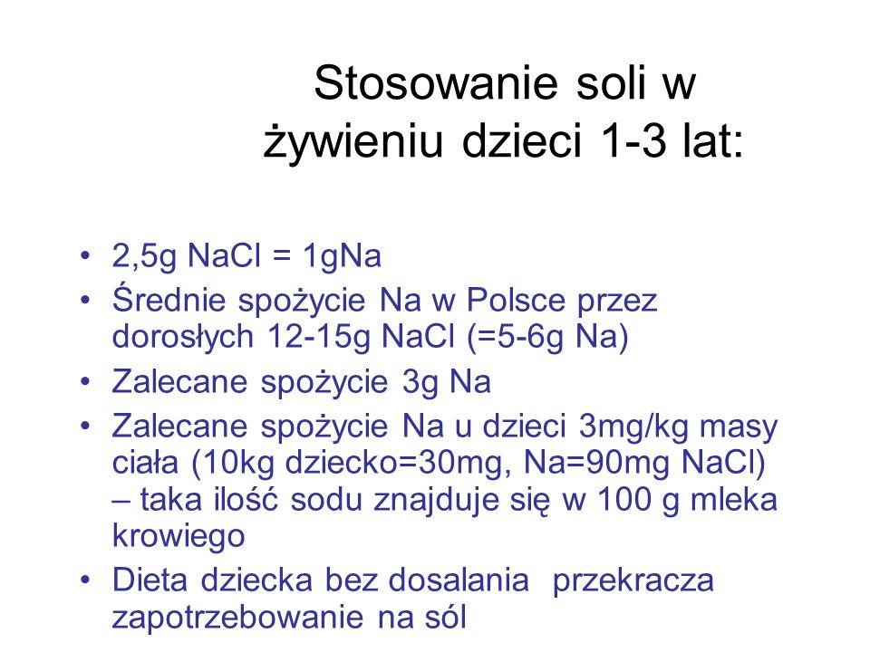 Stosowanie soli w żywieniu dzieci 1-3 lat: 2,5g NaCl = 1gNa Średnie spożycie Na w Polsce przez dorosłych 12-15g NaCl (=5-6g Na) Zalecane spożycie 3g N