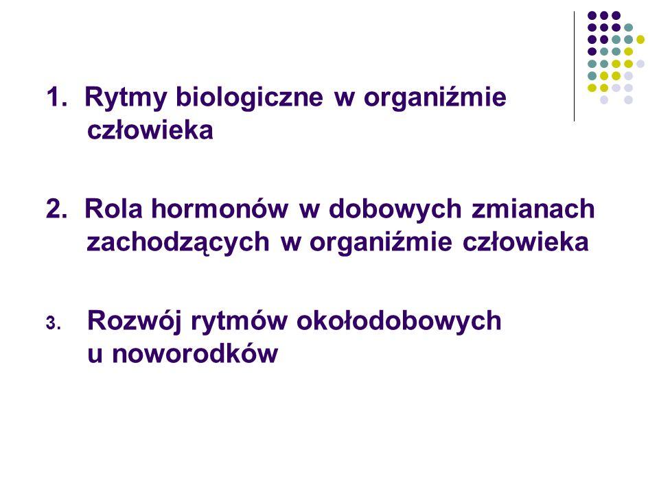 1. Rytmy biologiczne w organiźmie człowieka 2. Rola hormonów w dobowych zmianach zachodzących w organiźmie człowieka 3. Rozwój rytmów okołodobowych u
