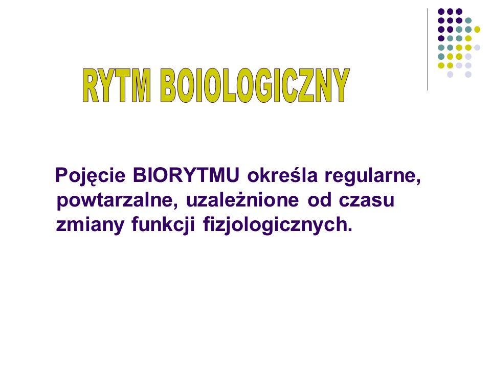 Pojęcie BIORYTMU określa regularne, powtarzalne, uzależnione od czasu zmiany funkcji fizjologicznych.