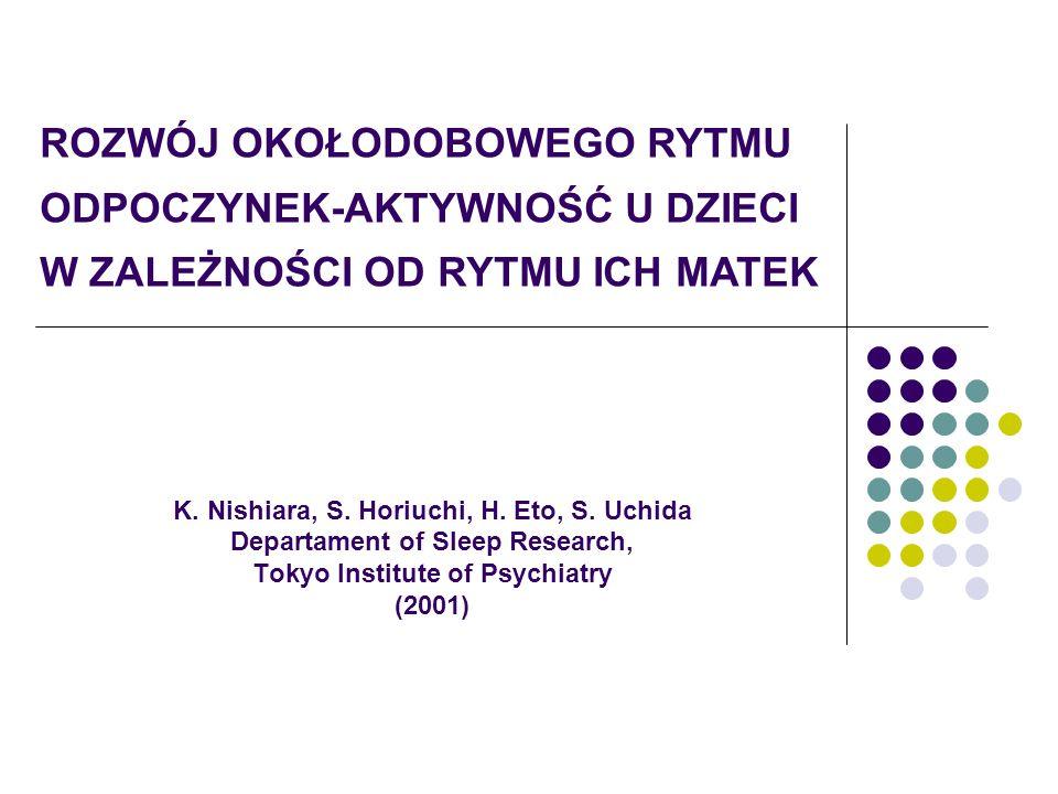 K. Nishiara, S. Horiuchi, H. Eto, S. Uchida Departament of Sleep Research, Tokyo Institute of Psychiatry (2001) ROZWÓJ OKOŁODOBOWEGO RYTMU ODPOCZYNEK-