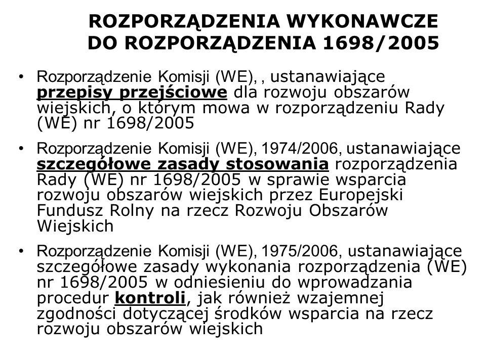 ROZPORZĄDZENIA WYKONAWCZE DO ROZPORZĄDZENIA 1698/2005 Rozporządzenie Komisji (WE),, ustanawiające przepisy przejściowe dla rozwoju obszarów wiejskich,