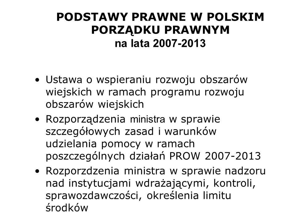 PODSTAWY PRAWNE W POLSKIM PORZĄDKU PRAWNYM na lata 2007-2013 Ustaw a o wspieraniu rozwoju obszarów wiejskich w ramach programu rozwoju obszarów wiejsk