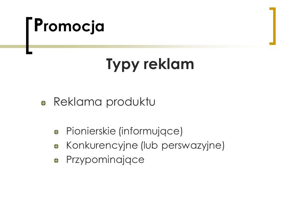 P romocja Typy reklam Reklama produktu Pionierskie (informujące) Konkurencyjne (lub perswazyjne) Przypominające