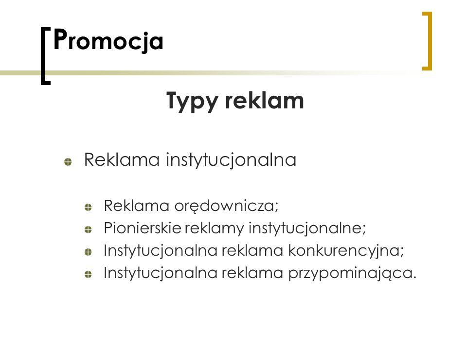 P romocja Typy reklam Reklama instytucjonalna Reklama orędownicza; Pionierskie reklamy instytucjonalne; Instytucjonalna reklama konkurencyjna; Instytu