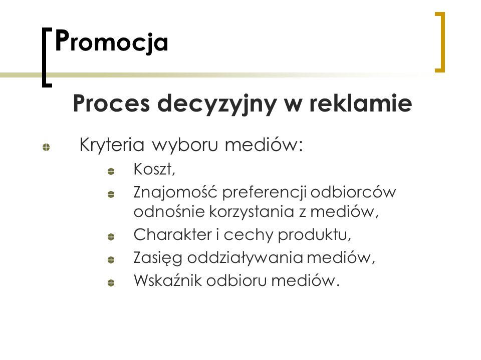 P romocja Proces decyzyjny w reklamie Kryteria wyboru mediów: Koszt, Znajomość preferencji odbiorców odnośnie korzystania z mediów, Charakter i cechy