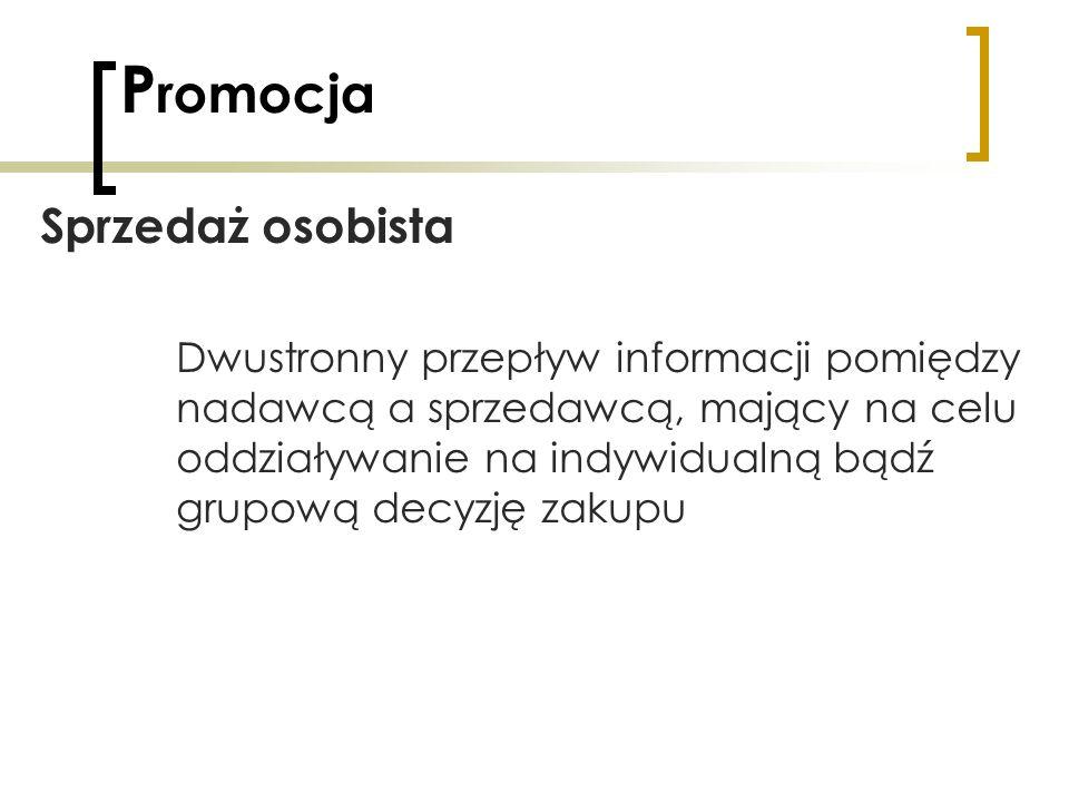 P romocja Sprzedaż osobista Dwustronny przepływ informacji pomiędzy nadawcą a sprzedawcą, mający na celu oddziaływanie na indywidualną bądź grupową de