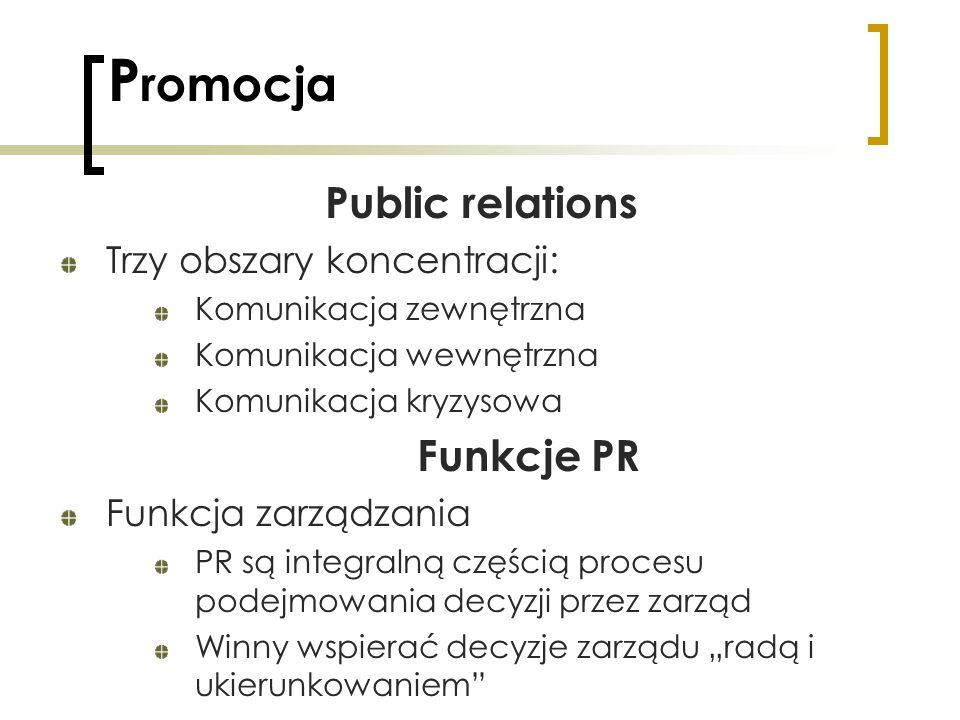 P romocja Public relations Trzy obszary koncentracji: Komunikacja zewnętrzna Komunikacja wewnętrzna Komunikacja kryzysowa Funkcje PR Funkcja zarządzan