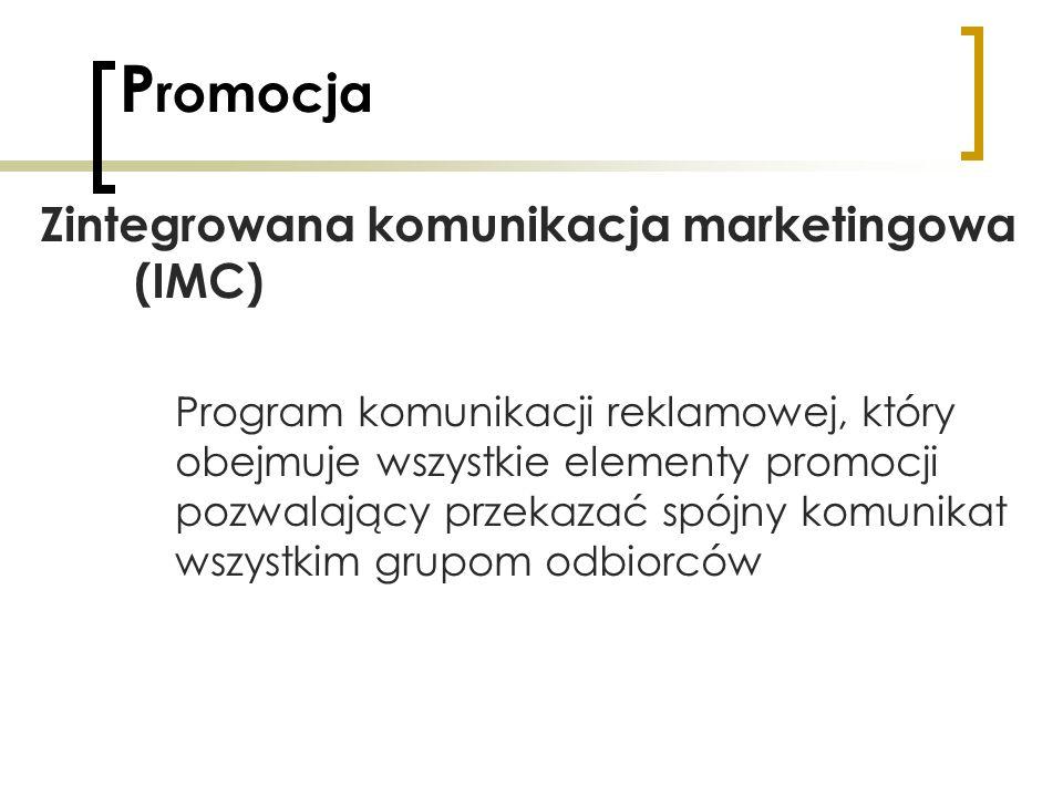 P romocja Zintegrowana komunikacja marketingowa (IMC) Program komunikacji reklamowej, który obejmuje wszystkie elementy promocji pozwalający przekazać
