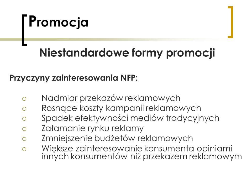 P romocja Niestandardowe formy promocji Przyczyny zainteresowania NFP: Nadmiar przekazów reklamowych Rosnące koszty kampanii reklamowych Spadek efekty