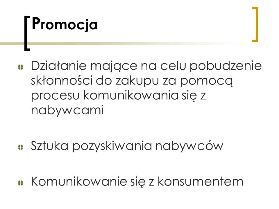P romocja Działanie mające na celu pobudzenie skłonności do zakupu za pomocą procesu komunikowania się z nabywcami Sztuka pozyskiwania nabywców Komuni