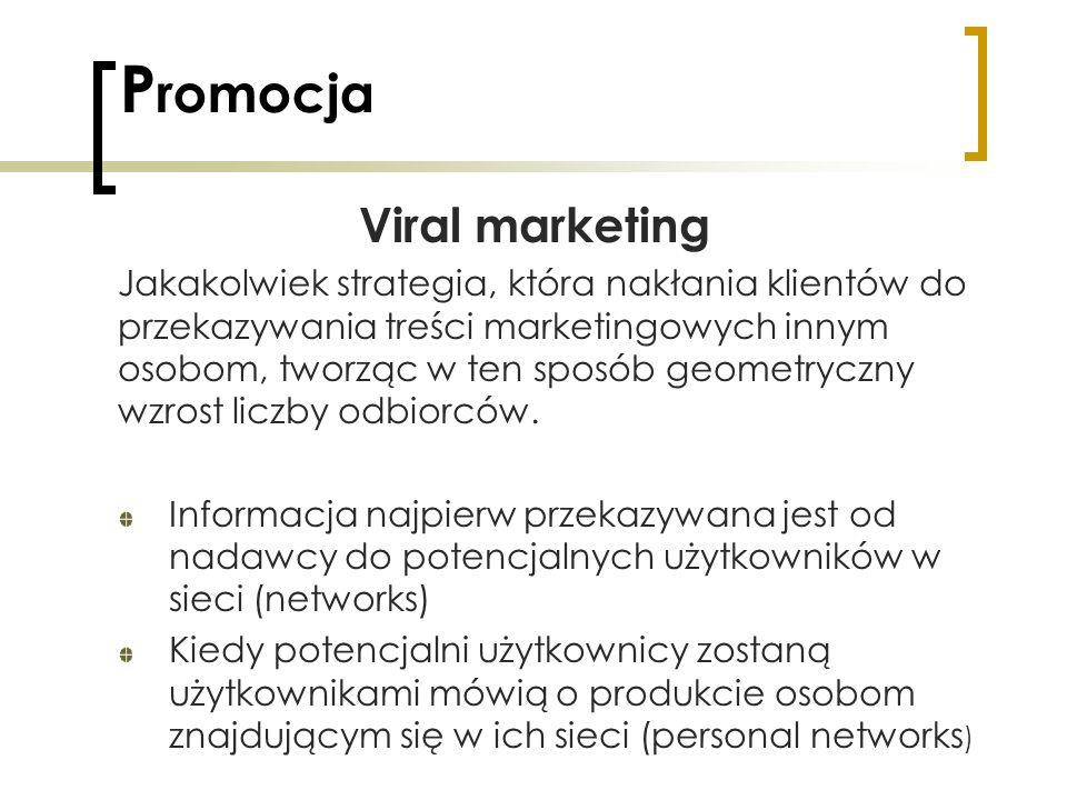 P romocja Viral marketing Jakakolwiek strategia, która nakłania klientów do przekazywania treści marketingowych innym osobom, tworząc w ten sposób geo