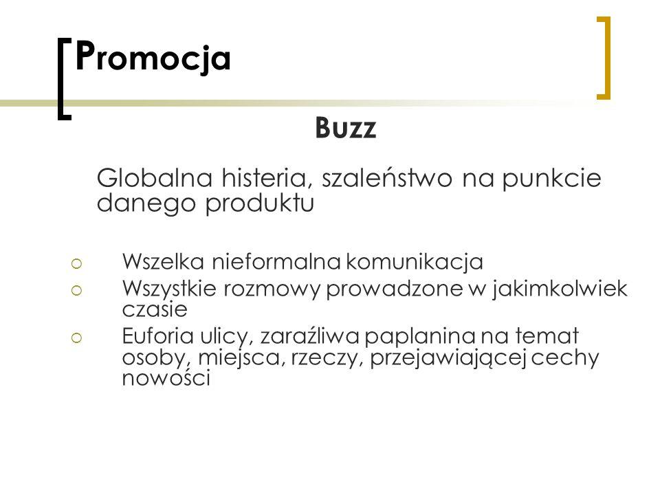 P romocja Buzz Globalna histeria, szaleństwo na punkcie danego produktu Wszelka nieformalna komunikacja Wszystkie rozmowy prowadzone w jakimkolwiek cz