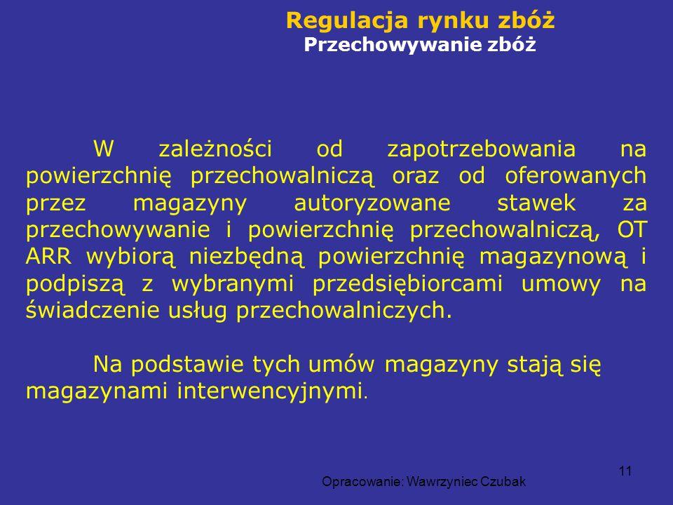 Opracowanie: Wawrzyniec Czubak 11 Regulacja rynku zbóż Przechowywanie zbóż W zależności od zapotrzebowania na powierzchnię przechowalniczą oraz od ofe