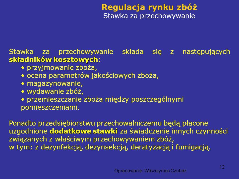 Opracowanie: Wawrzyniec Czubak 12 Regulacja rynku zbóż Stawka za przechowywanie składników kosztowych Stawka za przechowywanie składa się z następując