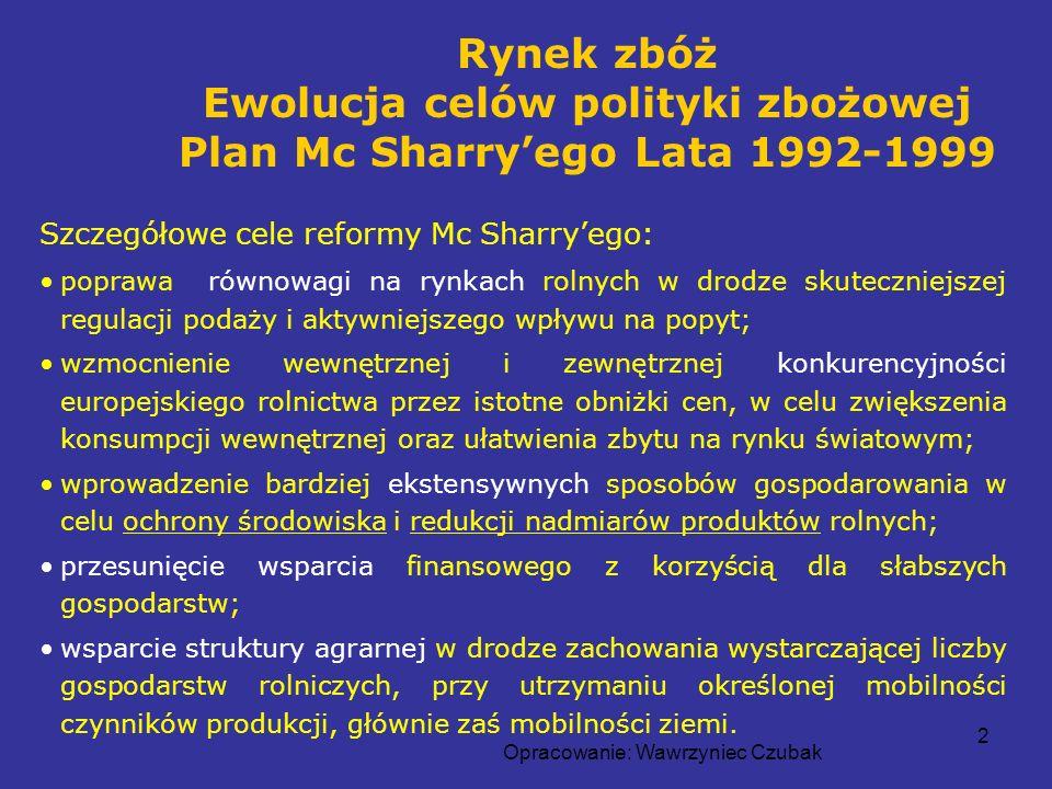 Opracowanie: Wawrzyniec Czubak 2 Szczegółowe cele reformy Mc Sharryego: poprawa równowagi na rynkach rolnych w drodze skuteczniejszej regulacji podaży