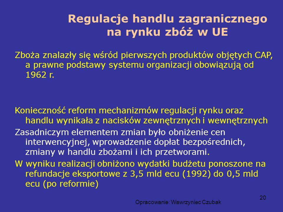 Opracowanie: Wawrzyniec Czubak 20 Regulacje handlu zagranicznego na rynku zbóż w UE Zboża znalazły się wśród pierwszych produktów objętych CAP, a praw