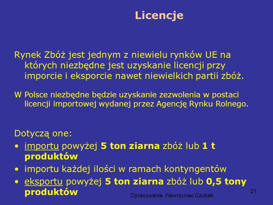 Opracowanie: Wawrzyniec Czubak 21 Licencje Rynek Zbóż jest jednym z niewielu rynków UE na których niezbędne jest uzyskanie licencji przy imporcie i ek