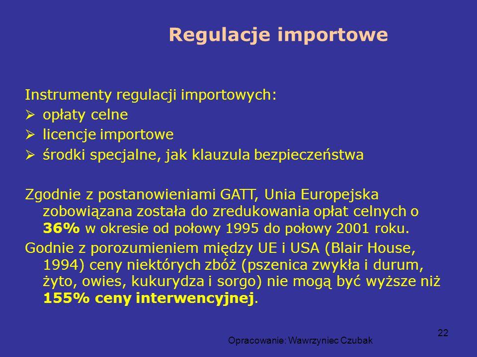 Opracowanie: Wawrzyniec Czubak 22 Regulacje importowe Instrumenty regulacji importowych: opłaty celne licencje importowe środki specjalne, jak klauzul