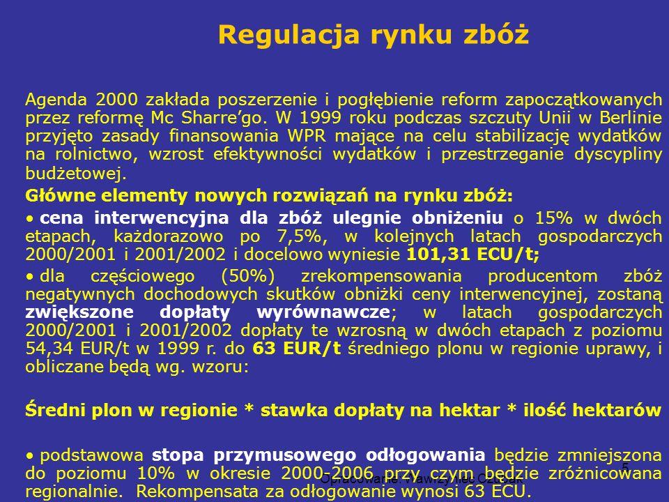 Opracowanie: Wawrzyniec Czubak 5 Agenda 2000 zakłada poszerzenie i pogłębienie reform zapoczątkowanych przez reformę Mc Sharrego. W 1999 roku podczas