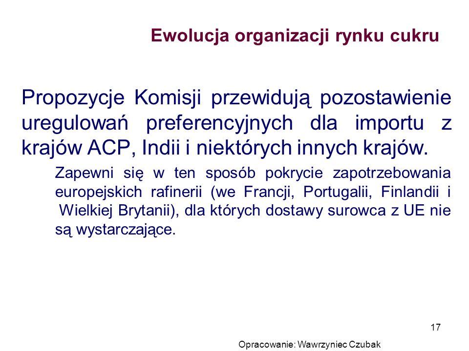 Opracowanie: Wawrzyniec Czubak 17 Ewolucja organizacji rynku cukru Propozycje Komisji przewidują pozostawienie uregulowań preferencyjnych dla importu
