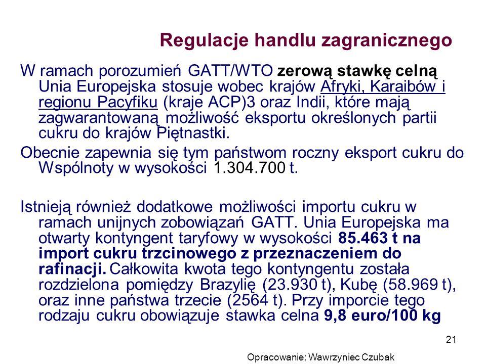Opracowanie: Wawrzyniec Czubak 21 Regulacje handlu zagranicznego W ramach porozumień GATT/WTO zerową stawkę celną Unia Europejska stosuje wobec krajów