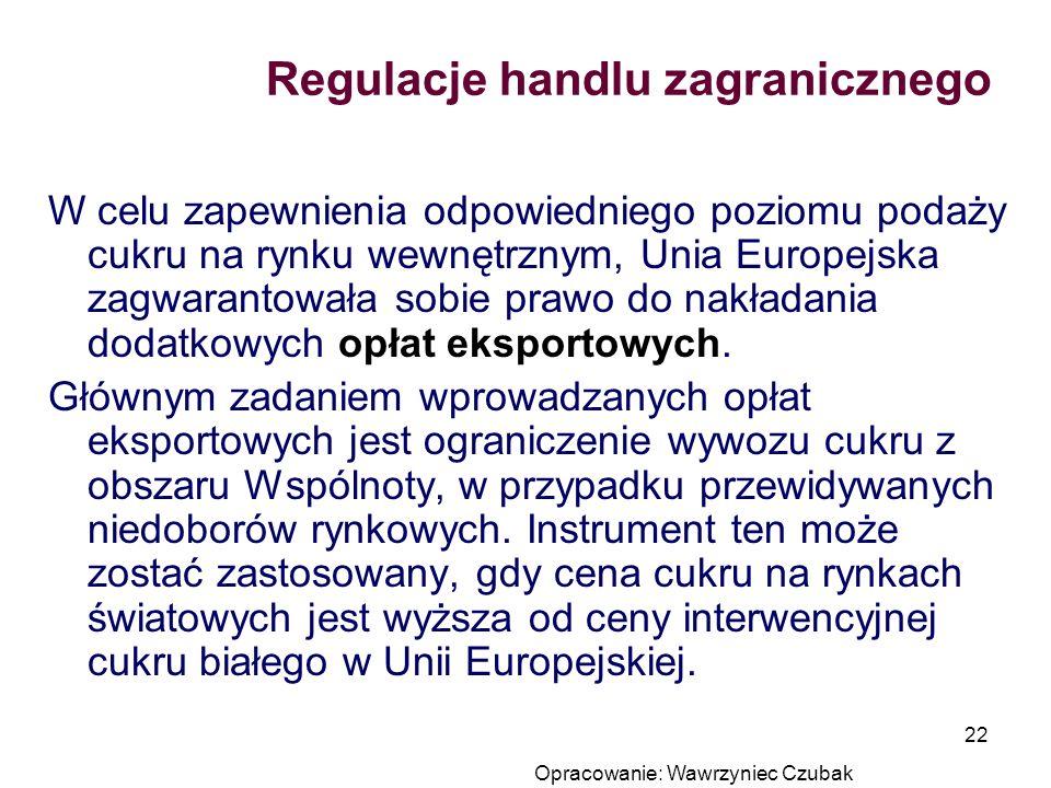 Opracowanie: Wawrzyniec Czubak 22 Regulacje handlu zagranicznego W celu zapewnienia odpowiedniego poziomu podaży cukru na rynku wewnętrznym, Unia Euro