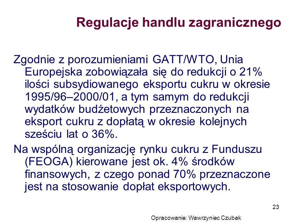 Opracowanie: Wawrzyniec Czubak 23 Regulacje handlu zagranicznego Zgodnie z porozumieniami GATT/WTO, Unia Europejska zobowiązała się do redukcji o 21%