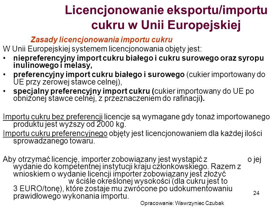Opracowanie: Wawrzyniec Czubak 24 Licencjonowanie eksportu/importu cukru w Unii Europejskiej Zasady licencjonowania importu cukru W Unii Europejskiej