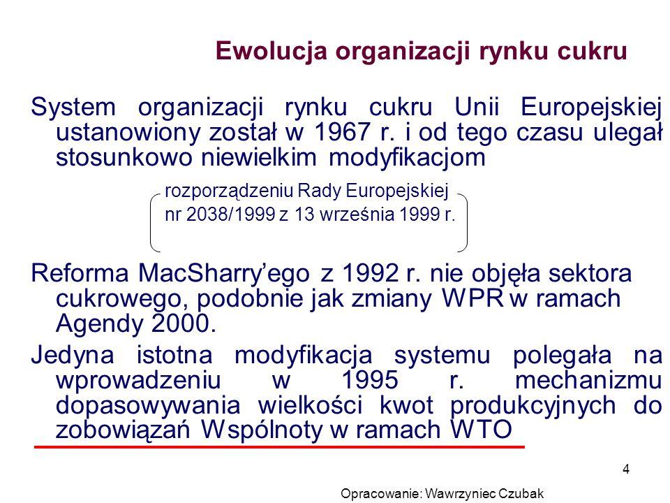 Opracowanie: Wawrzyniec Czubak 4 Ewolucja organizacji rynku cukru System organizacji rynku cukru Unii Europejskiej ustanowiony został w 1967 r. i od t
