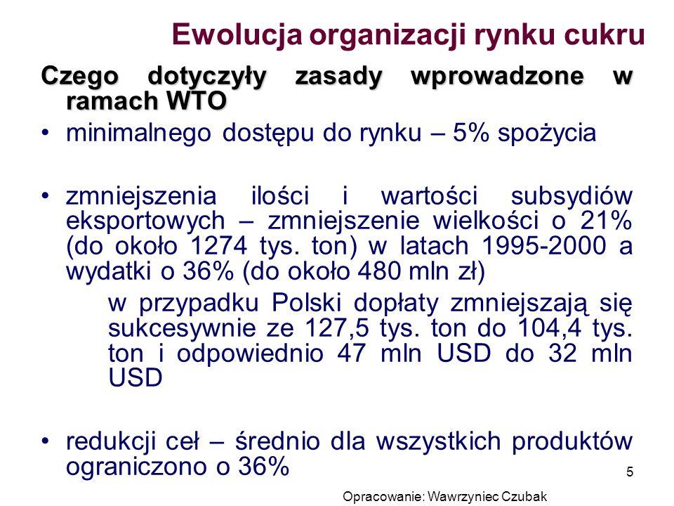 Opracowanie: Wawrzyniec Czubak 5 Czego dotyczyły zasady wprowadzone w ramach WTO minimalnego dostępu do rynku – 5% spożycia zmniejszenia ilości i wart