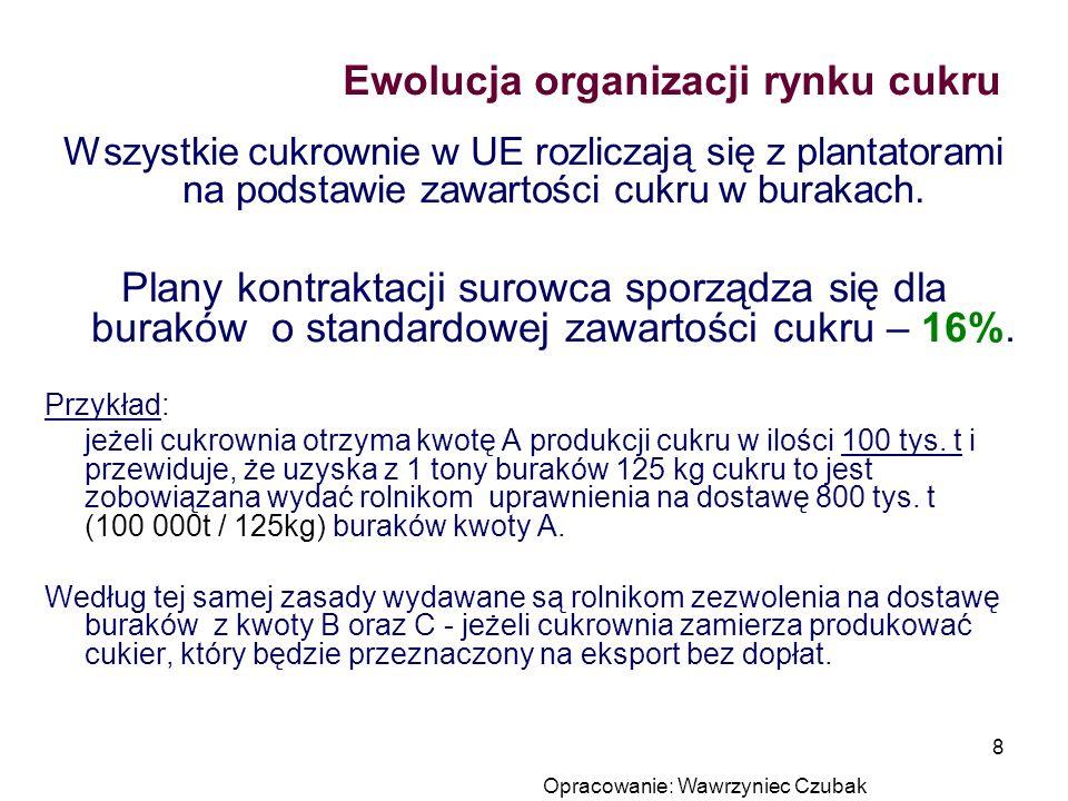 Opracowanie: Wawrzyniec Czubak 8 Ewolucja organizacji rynku cukru Wszystkie cukrownie w UE rozliczają się z plantatorami na podstawie zawartości cukru